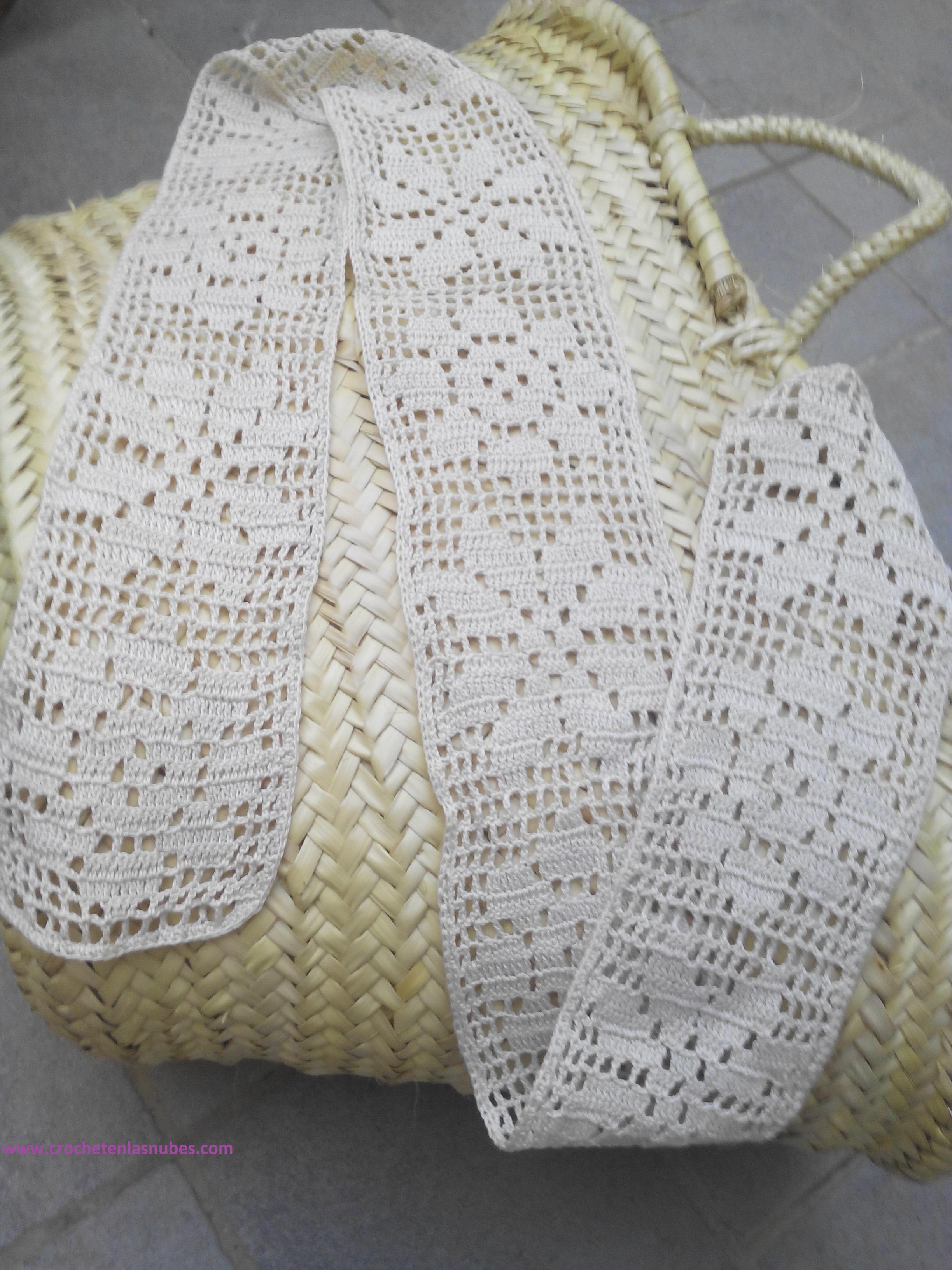 Cesta para la playa decorada con cenefa y aplicaciones | Crochet en ...